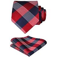 HISDERN Formal Silk Ties for Men Classic Plaid Check Tie + Handkerchief Set Elagant Men's Striped Necktie & Pocket Square Set