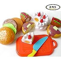 Geraffely おままごと キッチン セット まな板 包丁付き 切れる食べ物 子ども用 ごっこ遊び 食べ物 切る遊び 野菜カット カラフル 知育玩具 幼児に 孫にプレゼント 親子遊び オモチャ ペストリー 8点セット
