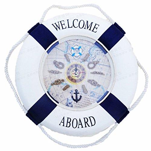 RoomClip商品情報 - 壁掛け 時計 マリン系 地中海 浮輪 かわいい インテリア 全2色 35cm (ブルー)