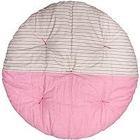 高岡 せんべい座布団 直径100cm ツートンカラー 縞きなり×薔薇