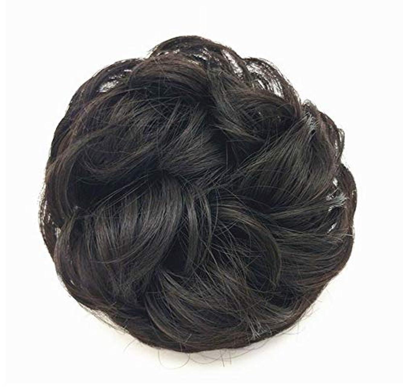 スロベニア焦がす挨拶する乱雑な髪のお団子シュシュの拡張機能、女性用カーリー波状リボンアクセサリー、ドーナツアップドポニーテールシニョン