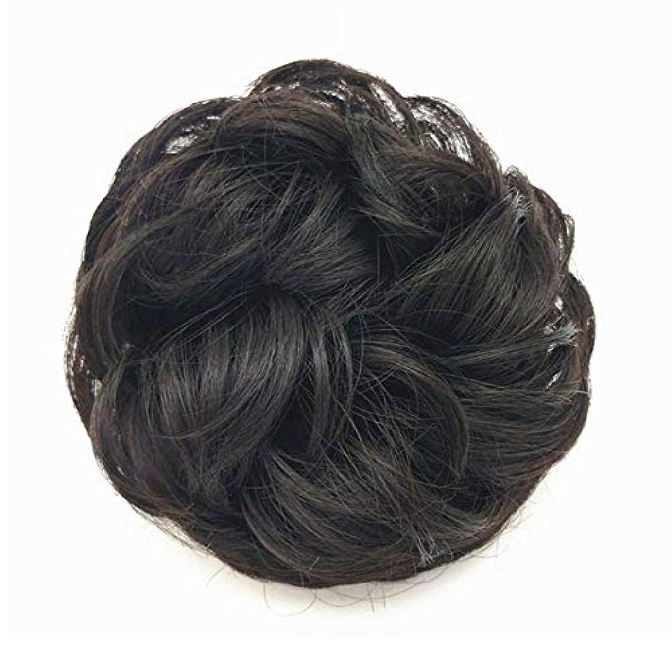 ネクタイ組み立てるペイント乱雑な髪のお団子シュシュの拡張機能、女性用カーリー波状リボンアクセサリー、ドーナツアップドポニーテールシニョン