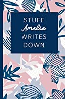 Stuff Amelia Writes Down: Personalized Journal / Notebook (6 x 9 inch) STUNNING Navy Blue and Mauve Blush Pink Pattern