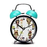 ブルーアラーム時計、レトロポータブルツインベルBesideアラーム時計with nightlight-076。ペットショップBlythe 。