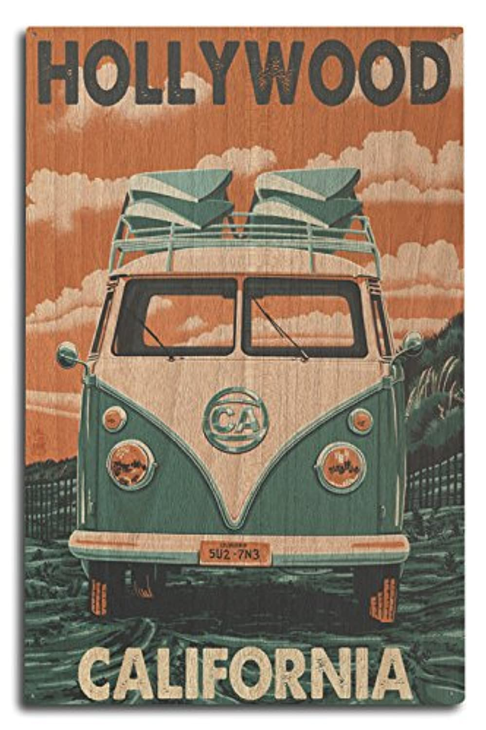 Hollywood , California – VW Van Letterpress 10 x 15 Wood Sign LANT-46128-10x15W