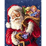 DIY 5D Diamond Painting Kits Full Drill Crystals Diamond Embroidery Rhinestone Painting Pasted Paint by Number Kits Stitch Craft Kit Home Decor Wall Sticker - Santa Claus 12x16 inch
