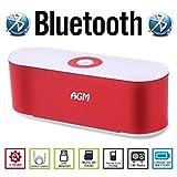 AGM Bluetooth スピーカー ステレオ 2.1CH YOUTUBE視聴可 大型低音用ウーハー装備 LED付 クリアーサウンド ( FMラジオ ) ( ハンズフリー テレホン ) ( LINE IN ) (USBメモリー ) ( MICRO SD ) 安心の基本機能一年メーカー保証 日本語説明書付 S207U (レッド)
