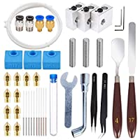 42 Pcs 3D Printer Accessories Kit, 10 Nozzle + 3 Heater Block + 3 Throat Tube + 3 MK8 Silicone Socks + 10 Cleaning Needle + Othe