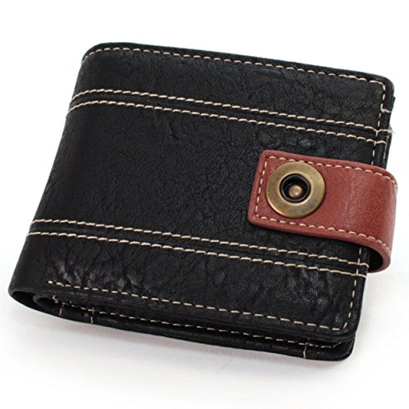 腹フルーティー反対した(リベルトエドウィン) LIBERTO EDWIN カード収納付きワンボタンステッチ切り替え二つ折り財布 (10)ブラック
