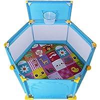 HUO 子供のガードレールセットベビーゲームのフェンスの障壁ベビーセーフティー幼児のバッフルとクロールマット 省スペース (色 : 青)