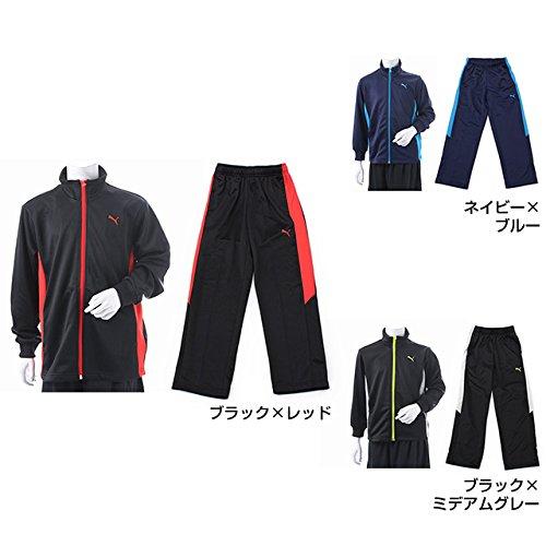 PUMA(プーマ) ジュニア トレーニング ジャージ ジャケット パンツ 上下セット (850941 850942) ブラックXレッド 150