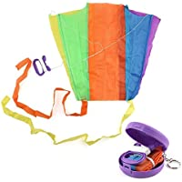 anytec Mini Kite Easy To Flyカイトレインボーカラフルな印刷Kite for Kids and大人Eye Catching明るい色Very Easy to Fly Great for Beginners – ランダム色