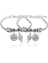 2pcs BBF Best Friends No Matter Where Compass Split Broken Heart Double Bracelets Set Friendship Gift