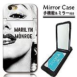 301-sanmaruichi- iPhone7 ケース icカード収納 ミラーケース 鏡付き ミラー付き カード収納 マリリンモンロー ブラック プリント スタンド機能 多機能ケース 電磁波干渉防止シート付