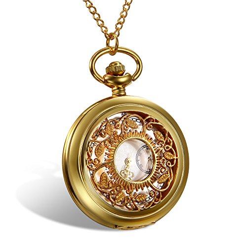 [해외]Lancardo 회중 시계 복고풍 투각 케이스 로마 숫자 표 반 하나 포인터 장식 석영 주머니 시계 고루도/Lancardo pocket watch retro watermark carving case Roman numeral table board one pointer decoration quartz pocket watch gold