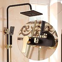 浴室のシャワーセット ヨーロッパスタイルの黒いシャワーセット温かい寒い蛇口ゴールドプラスブラックシャワーセットシャワー装置 (設計 : B)