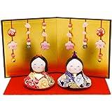『おすまし福雛 花屏風付き』 手作りちりめん細工 なごみの和雑貨 雛人形