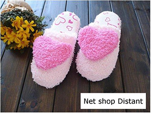 NSD ハートがかわいい ふわふわスリッパ (S, ピンク)