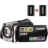 Kenuo HDビデオカメラ デジタルビデオカメラ 2400万画素 WIFI搭載  SDカード(最大32GB)  バッテリー*2