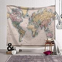 世界地図タペストリー壁掛けヴィンテージの水彩色のタペストリー寝室の寮の装飾 SHWSM (Color : E, Size : 203x150)