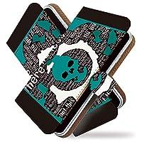 KEIO ケイオー Disney Mobile on docomo F-07E カバー 手帳型ケース ガイコツ F07E 手帳 ドクロ Disney Mobile on docomo F-07E ケース 手帳型 スカル グリーン ディズニーモバイル ittnスカルグリーンt0122