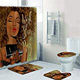 Fashion_Man 16PCS/Set Fancy African American Woman Shower Curtain + Rugs Polyester Waterproof Bath Curtain Non-Slip Bathroom