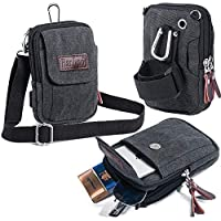 Ranboo Mens Small Cellphone Crossbody Shoulder Bag, Canvas Mini Travel Satchel Waist Belt Bag, Multifunction Carrying Phone Holder Purse,Compatible for iPhone XS 7 8 Plus Holster Belt Clip Pouch Black