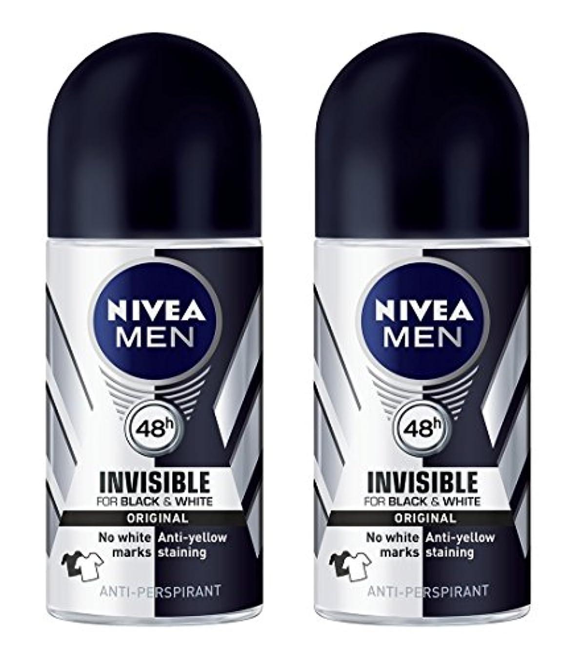 突然名前社員(Pack of 2) Nivea Invisible Black & White Anti-perspirant Deodorant Roll On for Men 2x50ml - (2パック) ニベア不可解黒そして...