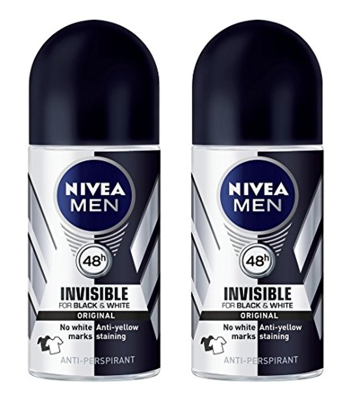 愚かブレークランタン(Pack of 2) Nivea Invisible Black & White Anti-perspirant Deodorant Roll On for Men 2x50ml - (2パック) ニベア不可解黒そして...
