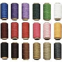 Vizstar 蝋引き糸 ロウ引き糸 ワックスコード カラフル 18色セット 各50m 手縫い DIY 紐 糸 革 レザークラフト 1mm直径