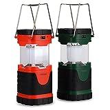 akopa 新型 LEDランタン LEDキャンピングライト 300ルーメン 3電源方式を採用【ソーラー充電/AC100V充電/単三型電池】 キャンプ/野営/夜釣り/防災/非常用 エクスプローラー等のアウトドアに最適 お得な2台セット(紅色、緑色)