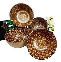 """Japanese Floral Blossomセピアブラウンカラー食品安全性5""""直径装飾ボウルのセット4セラミック"""