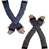 YAKIDA UV カット アームカバー 腕カバー UVカット手袋 綿麻 紫外線対策 ロング丈 日焼け対策 冷房対策 ゆったり 汗取り 敏感肌 涼感 薄手 男女兼用 (03-Black&Navy)