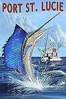 ポートセントルーシー–Sailfish 24 x 36 Signed Art Print LANT-52673-710
