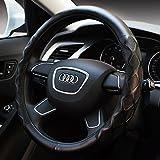 autoinbox ハンドルカバー 自動車 ステアリングカバー 自動車用品 おしゃれ カー アクセサリー 革 直径対応サイズ36.5㎝~37.9㎝ (ブラック)