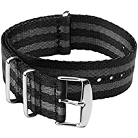 Archer Watch Straps   Seat Belt Weaved Nylon Premium Quality NATO Straps   Heavy Duty Military Style Replacement Watch Band (Black/Gray Stainless 22mm)