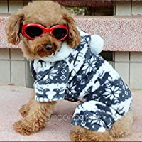 暖かい冬のソフトパーカージャンプスーツコートは、かわいいペット犬の子犬HOTのために衣装服:L