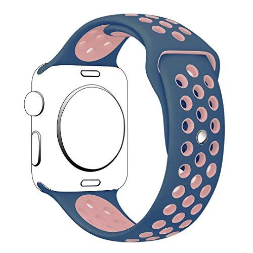 YOLOVIE For Apple Watch スポーツバンド アップルウォッチ バンド 38mm ストラップ シリコーン交換バンド 全機種対応 Apple Watch Series 1 / Series 2 / Nike+ / Edition 適用【38mm、ブルー + ピンク、S/M】