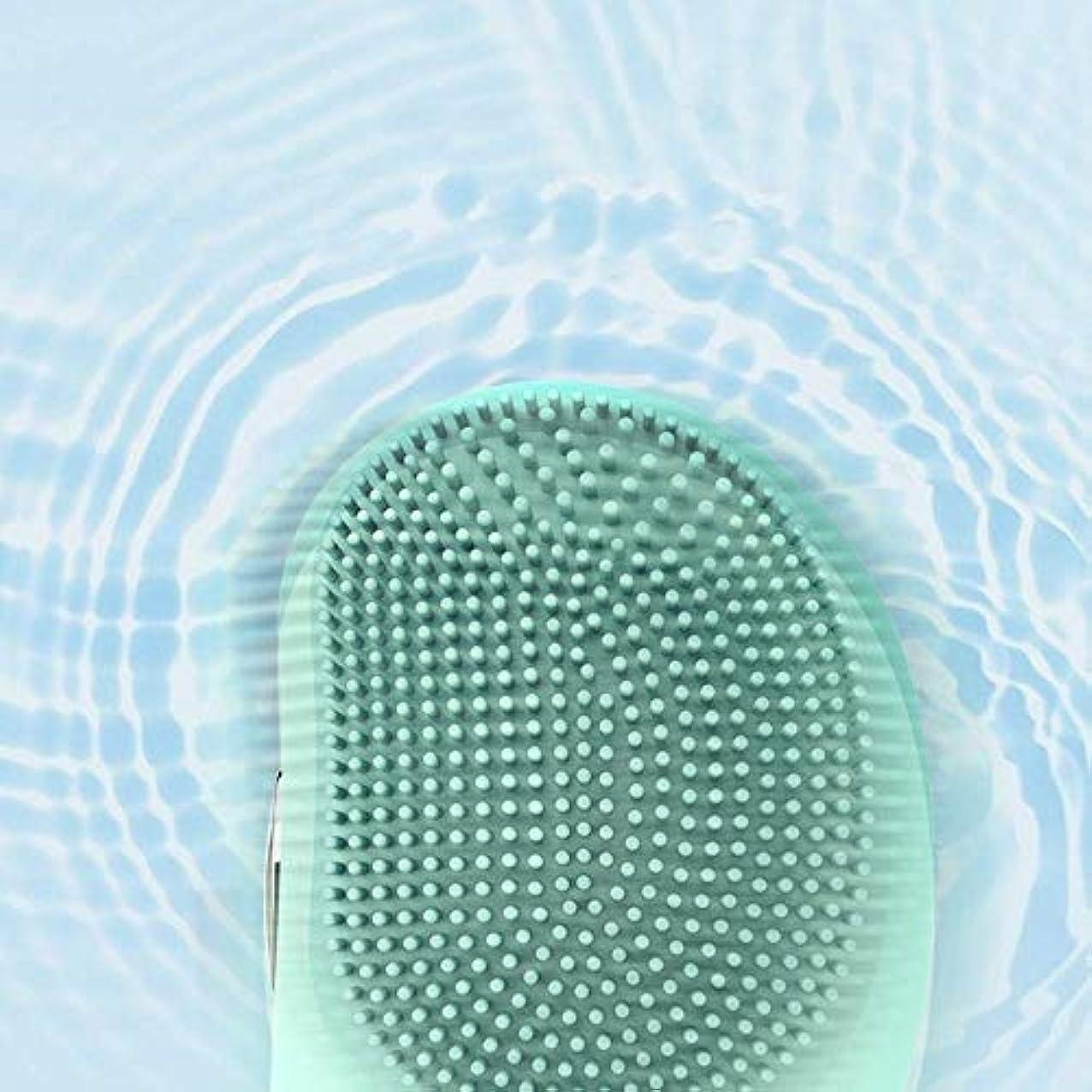 慰め同時パイロットLYX 新エレクトリック防水シリコーンクレンジングブラシ、超音波振動ポータブルクレンジング器、マッサージ器、美容機器、家庭用クリーナーデトックスクリーニングブラシ (Color : 青)