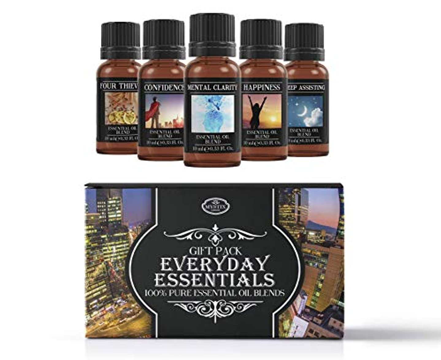 州新しい意味知らせるEveryday Essentials | Essential Oil Blend Gift Pack | Confidence, Four Thieves, Happiness, Mental Clarity, Sleep...