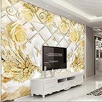 Ljjlm3Dローズバタフライラブスワンエンボス加工3Dソフトパッケージ背景壁カスタム大壁画緑壁紙-420X280Cm