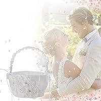 【Cheng-store】ウェディングレースフラワーバスケット 花弁の手フラワーバスケット フラワーガールフラワーバスケット 結婚式パーティー用品(ホワイト)