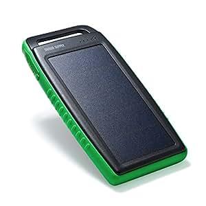 サンワダイレクト ソーラーチャージャー モバイルバッテリー 10000mAh 防雨・耐衝撃 2.1A出力 USB2ポート iPhone スマホ iPad 対応 グリーン 700-BTS011G