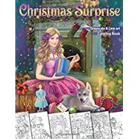 Christmas Surprise Coloring Book. Grayscale & Line art: Coloring Book for Adults