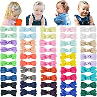 """DeD 50PCS 2"""" Tiny Baby Girls Hair Bow Solid Color Grosgrain Ribbon Baby Bows Alligator Clips for Girls Infants Toddlers Kids Set of 25 Pairs"""