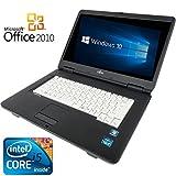 【Microsoft Office2010搭載】【Win 10搭載】富士通 A550/A/新世代Core i5 2.4GHz/メモリ4GB/HDD160GB/DVDドライブ/大画面15インチ/無..