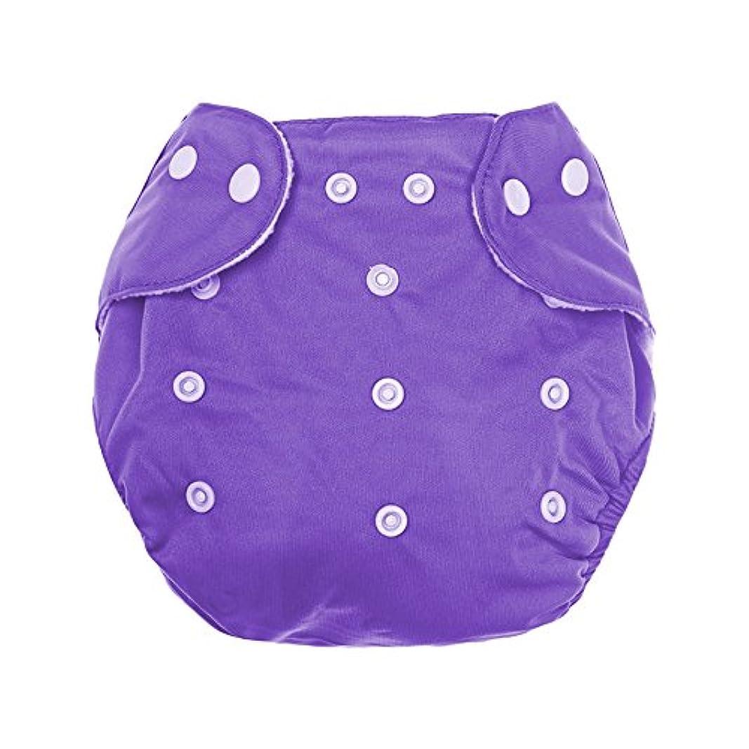 心配花瓶自己尊重洗える 再利用可能 スナップボタン リーク防止メッシュベビーおむつ 布のおむつ 紫