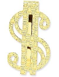 14 Kイエローゴールドポリッシュドル記号お金クリップ
