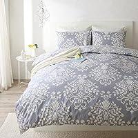 ベッド用ボックスシーツ (セミダブル) ブルーグレー/ダマスク柄/綿100%