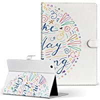 igcase d-01J dtab Compact Huawei ファーウェイ タブレット 手帳型 タブレットケース タブレットカバー カバー レザー ケース 手帳タイプ フリップ ダイアリー 二つ折り 直接貼り付けタイプ 014271 英語 カラフル 星